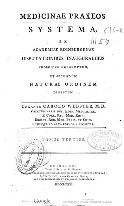 Medicinae praxeos systema ex Academiae Edinburgeae disputationibus inauguralibus praecipue depromptum et secundum naturae ordinem digestum