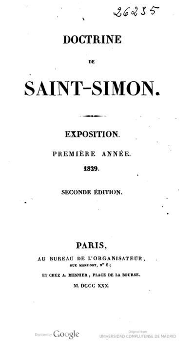 Doctrine de Saint-Simon Exposition premiere année, 1829