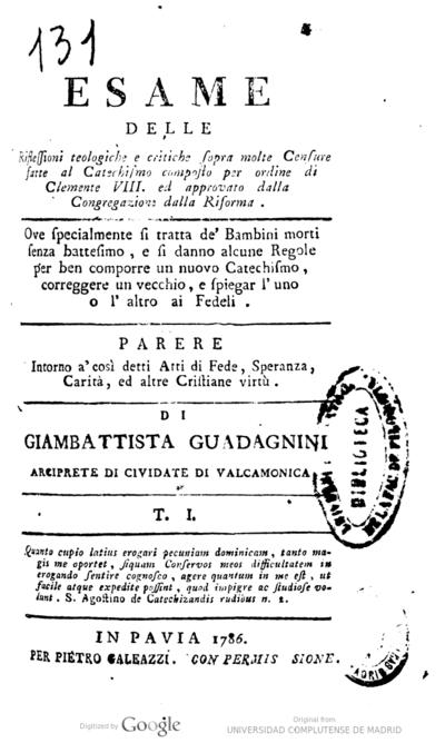 Esame delle rifessiono teologiche ... sopra molte censure fatte al catechismo ...