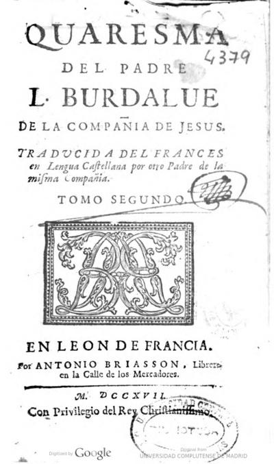Quaresma del padre L. Burdalue de la Compañía de Jesus