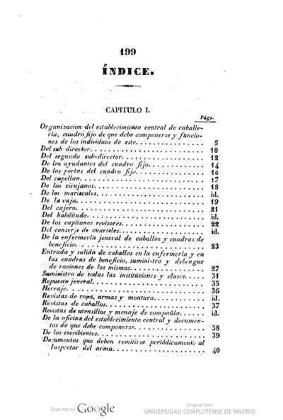 Reglamento provisional para el orden y gobierno del Establecimiento Central de intruccion de caballeria