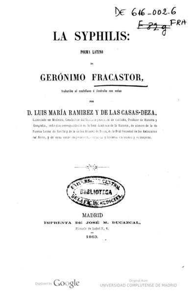 La Syphilis Poema Latino Girolamo Fracastoro Europeana