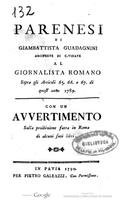 Parenesi di Giambattista Guadagnini arciprete di Cividate al Giornalista Romano sopra gli Articoli 65, 66 e 67 di quest'anno 1789