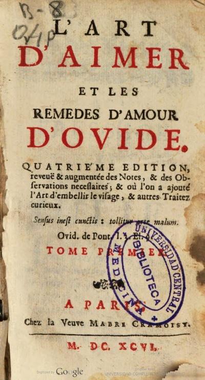 Lart Daimer Et Les Remedes Damour Dovide Tome Premier