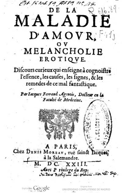 De La Maladie Damour Ou Melancholie Erotique Discours
