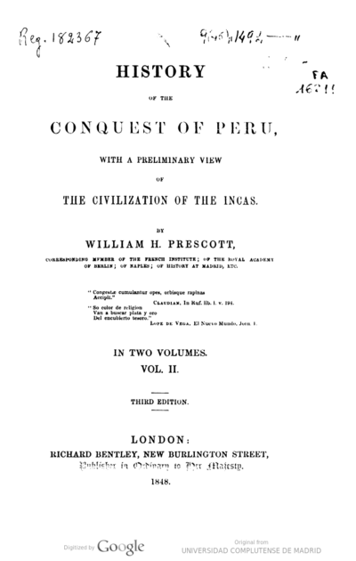History of the conquest of Peru with a preliminary view of the civilization of the incas