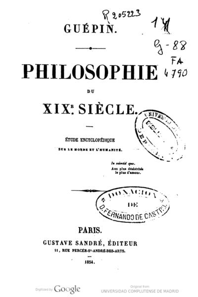 Philosophie du XIXe. siècle étude encyclopédique sur le monde et l'humanité