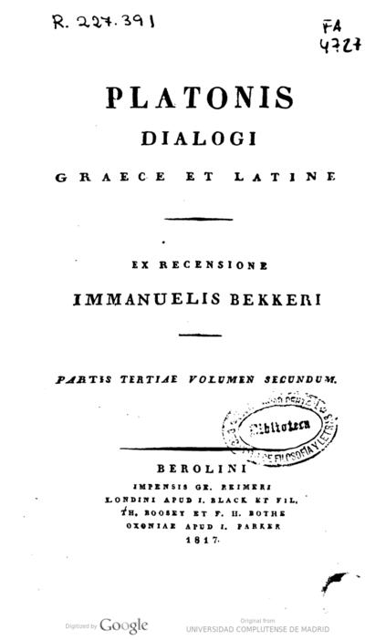 Platonis Dialogi graece et latine