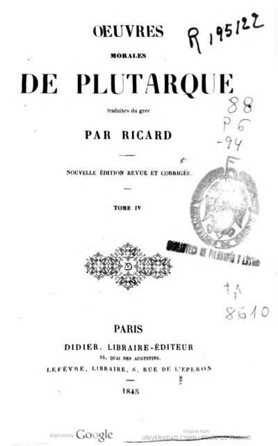 Oeuvres morales de Plutarque