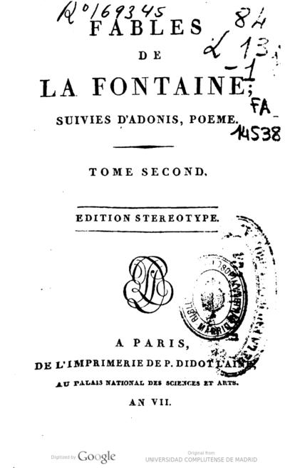 Fables De La Fontaine Suivies Dadonis Poeme Jean De La