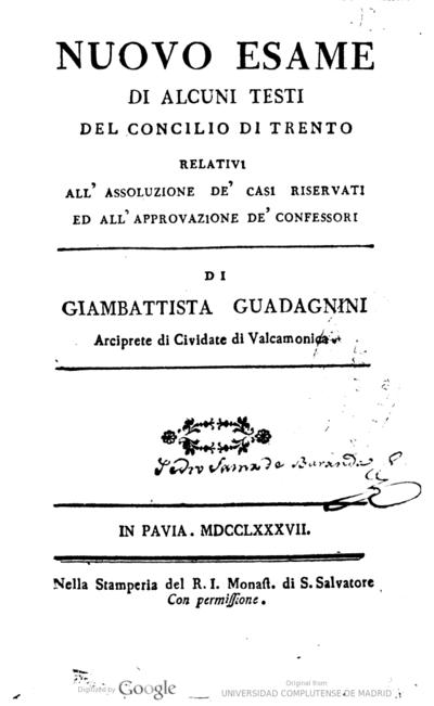 Nuovo esame di alcuni testi del Concilio di Trento relativi all'assoluzione de' casi riservati ed all' approvazione de' confessori