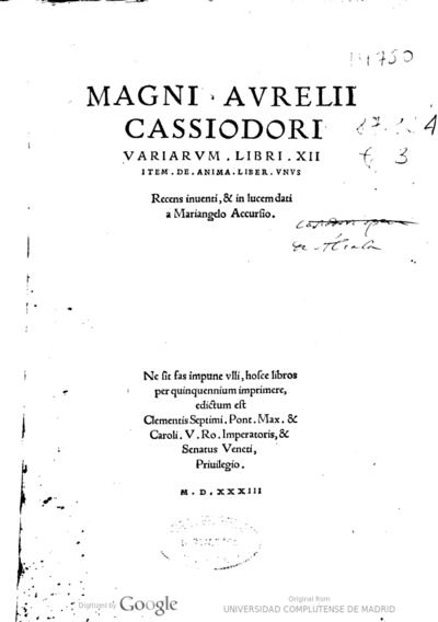 Magni Aurelii Cassiodori Variarum Libri XII. Item De anima liber vnus
