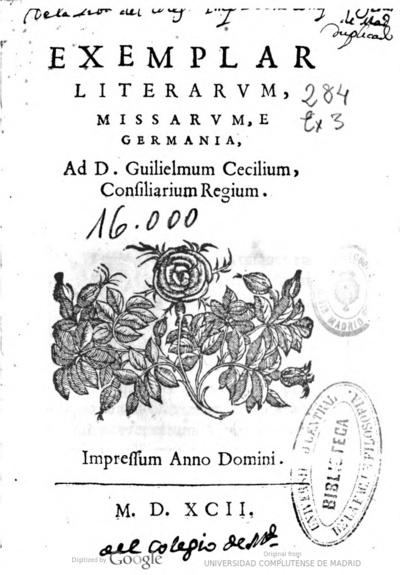 Exemplar literarum, missarum, e Germania, ad d. Guilielmum Cecilium, consiliarium regium
