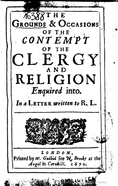 The grounds & occasions of the contempt of the clergy and religion enquired into In a letter written to R. L.