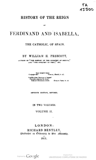 History of the reign of Ferdinand and Isabella, the Catholic of Spain
