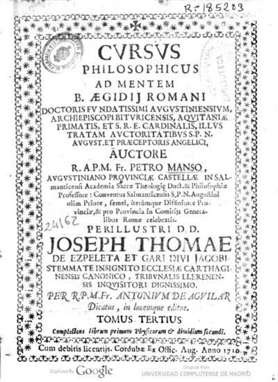 Cursus philosophicus ad mentem B. Aegidij Romani ...