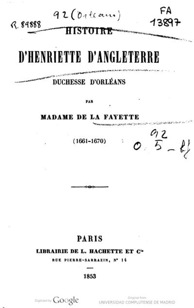 Histoire d'Henriette d'Angleterre, duchesse d'Orléans 1661-1670