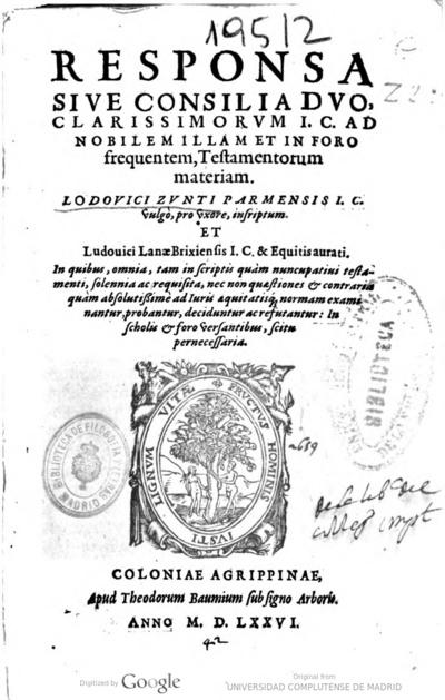 Responsa siue consilia duo clarissimorum I. C. ad nobilem illam et in foro frequentem, testamentorum materiam