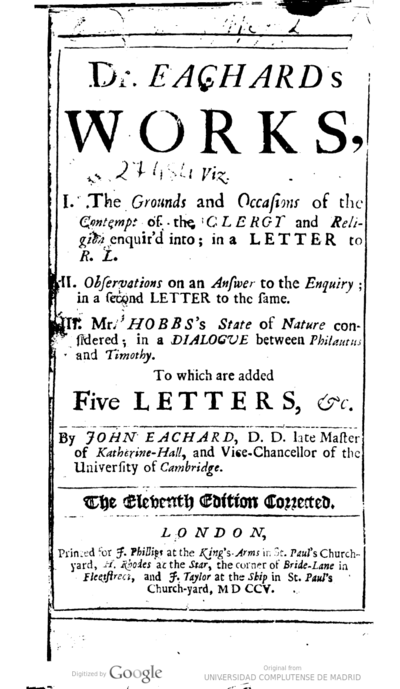 Dr. Eachard's works .. to which are added five letters