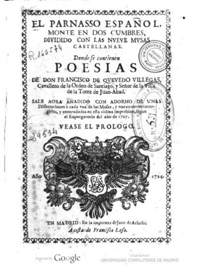 El parnasso español monte en dos cumbres diuidido con las nueue musas castellanas : donde se contienen poesias