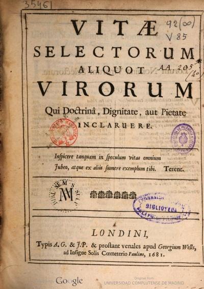 Vitae selectorum aliquot virorum qui doctrina, dignitate, aut pietate inclaruere