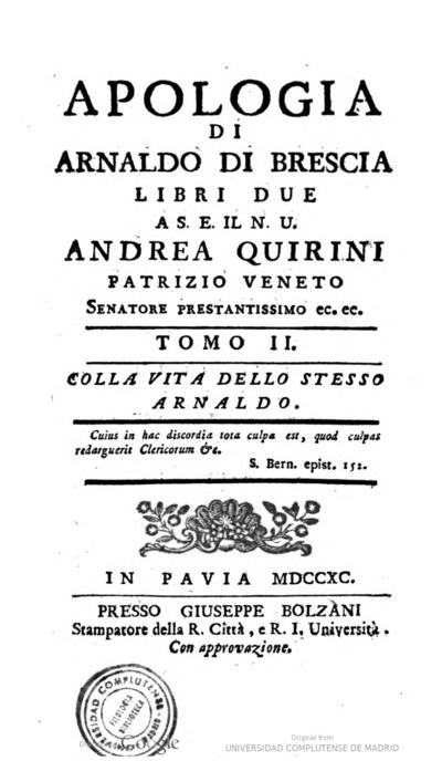 Apologia di Arnaldo di Brescia libri due a S.E. il N.U. Andrea Quirini, patrizio veneto... :  tomo II