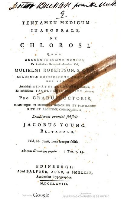 Tentamen medicum inaugurale De chlorosi ... pro gradu doctoris ...