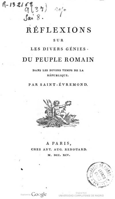 Réflexions sur les divers génies du peuple romain dans les divers temps de la République