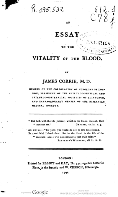 An essay on the vitality of the blood