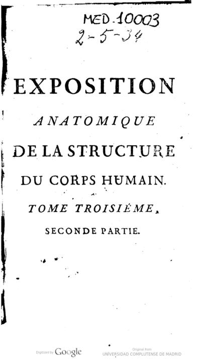Exposition anatomique de la structure du corps humain