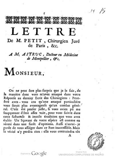 Lettre de M. Petit, chirurgien juré de Paris, &c. a m. Astruc, docteur en médecine de Montpellier ..