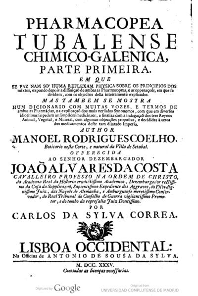 Pharmacopea tubalense chimico-galenica parte primeira ..