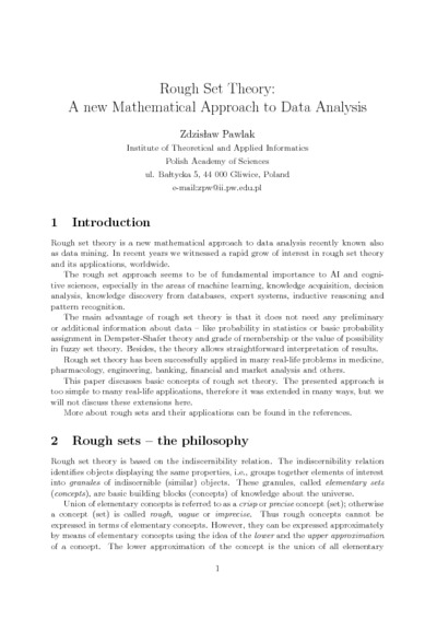 Rough set theory: A new mathematical approach to data analysis