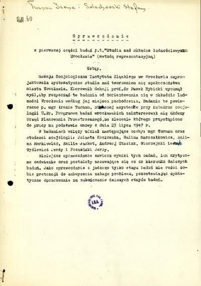 """Sprawozdanie z pierwszej części badań p.t. """"Studia nad składem ludnościowym Wrocławia"""" (metodą reprezentacyjną)"""