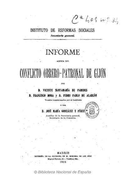 Informe acerca del conflicto obrero-patronal de Gijón