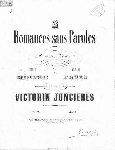2 romances sans paroles [Música notada] : pour le piano, op. 18