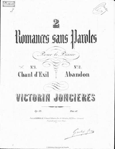 2 romances sans paroles [Música notada] : pour le piano op. 19
