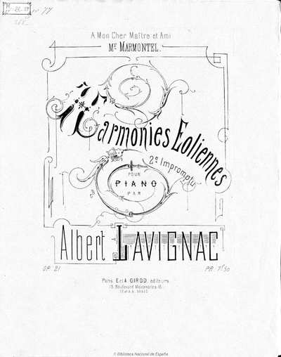 Harmonies éoliennes [Música notada] : 2me impromptu pour piano, op. 21