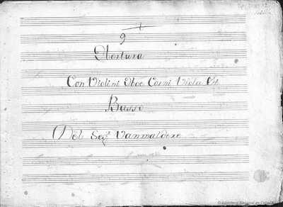 9 obertura con violini, oboe, corni, viola, basso
