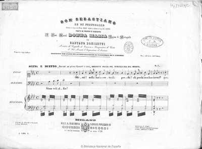 """Don Sebastiano re di Portogallo.. Scena e duetto, """"Perchè mi giova l'averti a lato"""" [Música notada]"""