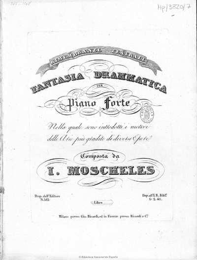 Rimembranze teatrali [Música notada] :]fantasia drammatica per piano forte nella quale sono introdotti i motivi delle arie più gradite di diverdi opere