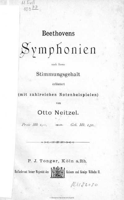 Beethovens Symphonien nach ihrem Stimmungsgehalt erläutert [Texto impreso] :](mit zahlreichen Notenbeispielen)