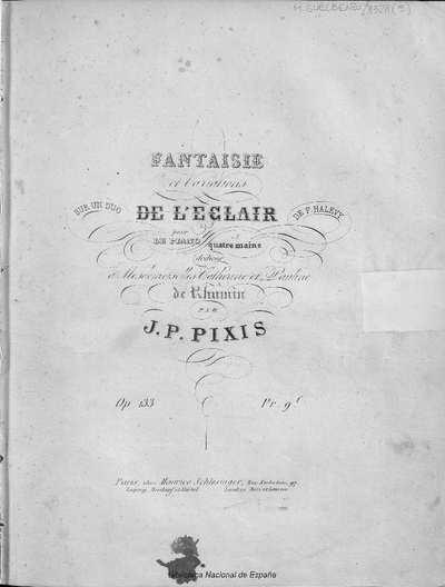 Fantaisie et variations sur un duo de L'eclair de F. Halevy [Mçusica notada] :]pour piano a quatre mains