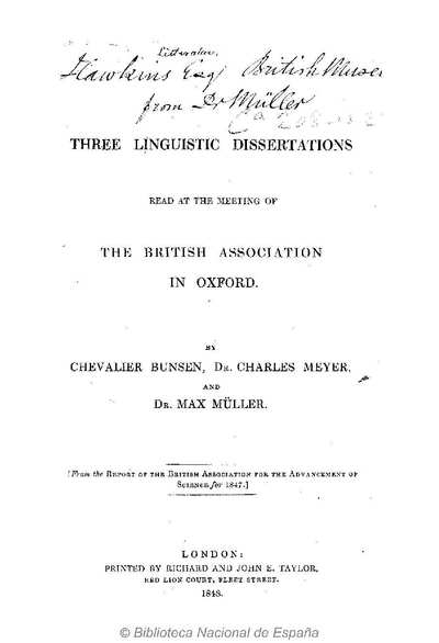 Three linguistic dissertations read at the meeting of the British Association in Oxford