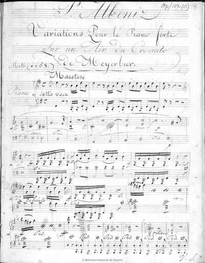 Variations pour le piano forte sur un air du Crociato de Meyerbeer