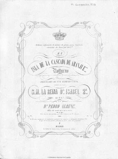 La isla de la cascada de Aranjuez [Música notada] :]notturno [sic] para piano precedido de una introducción