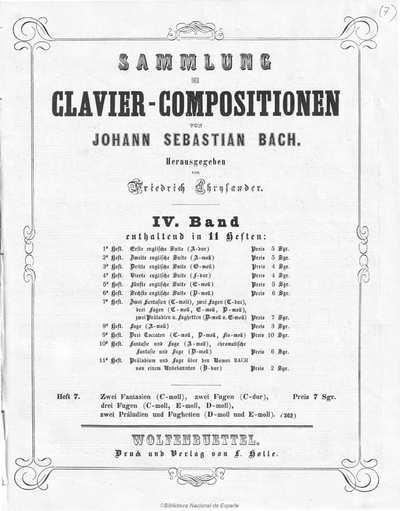 Zwei Fantasien (C-moll) [Música notada];]Zwei Fugen (C-dur) ; Drei Fugen (C-moll, E-moll, D-moll) ; Zwei Präeludien und Fughetten (D-moll und E-moll)