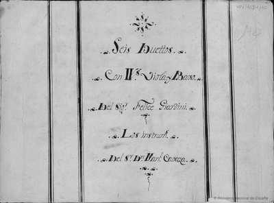 Seis duettos con vvs., viola y bajo