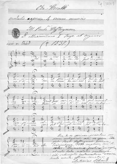 Oda Horatii [Música notada] :]modulis expressa 4 vocum musicis