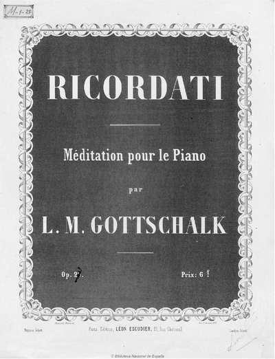 Ricordati [Música notada] :]méditation pour le piano, op. 26
